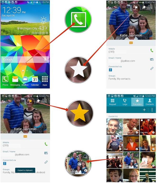 Избранные контакты в Galaxy S5