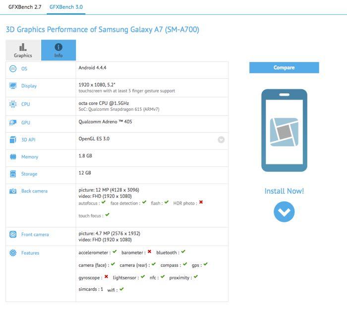 Характеристики Samsung Galaxy A7